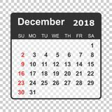 December 2018 calendar. Calendar planner design template. Week s. Tarts on Sunday. Business vector illustration Stock Image