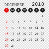 December 2018 calendar. Calendar planner design template. Week s. Tarts on Sunday. Business vector illustration Royalty Free Stock Photography
