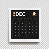 December 2018 calendar in realistic photo frame with shadow isolated. On transparent background. Event planner. All size. Vector illustration Royalty Free Stock Images
