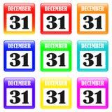 December 31 Set. December 31 on the calendar Set Vector Illustration