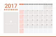December 2017 calendar. With space for picture Royalty Free Stock Images