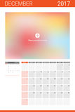 December 2017 calendar with space for picture Stock Image