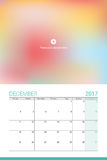 December 2017 calendar. With space for your picture Stock Image