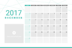 December 2017 calendar. With space for your pictures Royalty Free Stock Photo