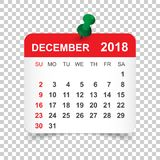 December 2018 calendar. Calendar sticker design template. Week s. Tarts on Sunday. Business vector illustration Royalty Free Stock Images