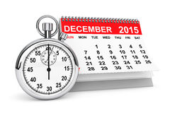 2015 December calendar with stopwatch Royalty Free Stock Photography