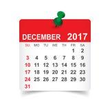 December 2017 calendar. December 2017. Calendar vector illustration Royalty Free Stock Photography