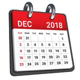 December 2018 calendar vector illustration. Simple and clean design Stock Images