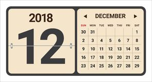 December 2018 calendar vector illustration royalty free illustration