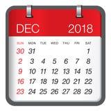 December 2018 calendar vector illustration stock illustration