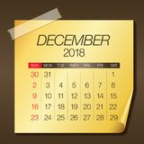 December 2018 calendar vector illustration. Simple and clean design Royalty Free Stock Images