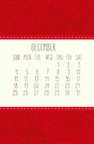December 2016 calendar. December 2016 vector calendar over red lacy doodle hand drawn background, week starting from Sunday Royalty Free Stock Photography
