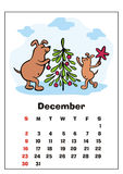 December 2018 calendar. Wall calendar for  december, 2018 with funny dogs. Fun children`s illustration in cartoon style. Colorful vector background. Vertical Stock Photo