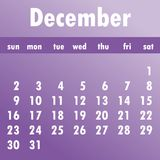 December calendar 2018. Week starts on Sunday. Business vector stock illustration