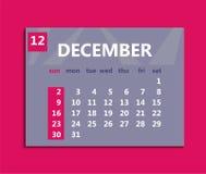 December calendar 2018. Week starts on Sunday. Business vector i royalty free illustration