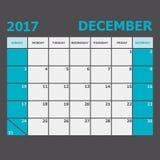 December 2017 calendar week starts on Sunday. Stock vector Royalty Free Stock Photos
