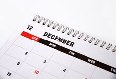 December calendar on a white background Royalty Free Stock Photo