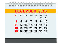 December 2016 calendar. On white background Royalty Free Stock Photography