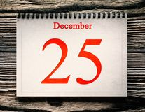 Calendar on the wood background. December 25 in the calendar on the wood background Royalty Free Stock Photography