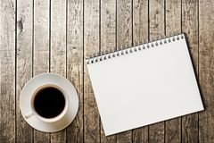 Notebook on the wood background royalty free stock photos