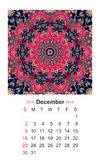 December. Calendar for 2018 year on indian ornamental background. Mandala. Calendar for 2018 year on indian ornamental background. Mandala pattern. Week starts Stock Photos