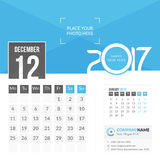 December 2017. Calendar 2017. December 2017. Calendar for 2017 Year. 2 Months on Page. Vector Design. Template with Place for Photo and Company Logo Stock Image