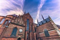 December 04, 2016: Cathedral of Saint Luke in Roskilde, Denmark. December 04, 2016: The Cathedral of Saint Luke in Roskilde, Denmark Royalty Free Stock Images