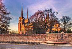 December 04, 2016: Cathedral of Saint Luke in Roskilde, Denmark. December 04, 2016: The Cathedral of Saint Luke in Roskilde, Denmark Stock Photography