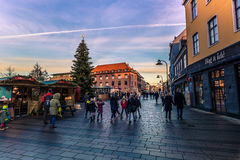 04 december, 2016: Centraal vierkant van Roskilde, Denemarken Stock Foto's