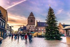 04 december, 2016: Centrum van Roskilde, Denemarken Stock Fotografie