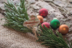 December. Christmas decoration with shiny tinsel are the perfect gift for everyone Stock Images