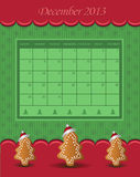 Calendar December Christmas 2013 tree green red. December Christmas 2013 tree green red  template Stock Image