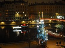 Night view of the banks of the Saône in Lyon during Christmas stock photography