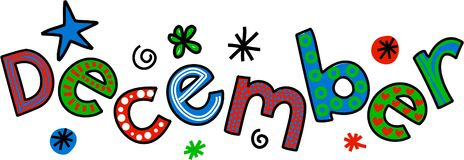December Clip Art. Whimsical cartoon text doodle for the month of December Stock Photos