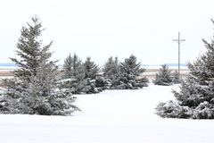 December Country snowfall in the Country. Snowy day in Michigan of beautiful countryside landscape Royalty Free Stock Photo