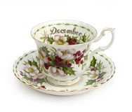 December Cup and Saucer. Cup and Saucer - Month of December royalty free stock image