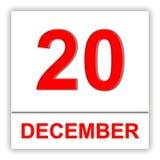 December 20 Dag på kalendern Royaltyfri Fotografi