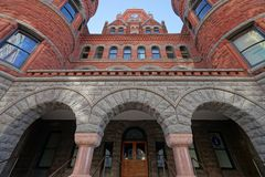 Old Red Museum facade in Dallas Texas. December 25, 2016 Dallas, Texas: The Dallas County Courthouse also known as the Old Red Museum, built in 1892 of red royalty free stock images
