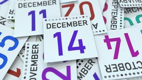 December 14 date on calendar page. 3D rendering. Calendar page with a specific date, 3D vector illustration