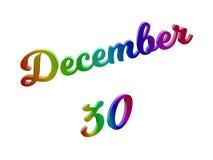 30 december Datum van Maandkalender, Kalligrafische 3D Teruggegeven Tekstillustratie kleurde met RGB Regenbooggradiënt Royalty-vrije Stock Foto