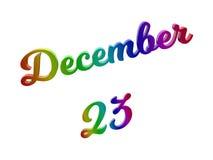 23 december Datum van Maandkalender, Kalligrafische 3D Teruggegeven Tekstillustratie kleurde met RGB Regenbooggradiënt Stock Foto