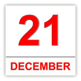 December 21. Day on the calendar. 3D illustration Royalty Free Stock Photo