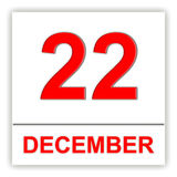 December 22. Day on the calendar. Royalty Free Stock Photo