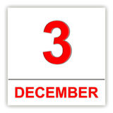 December 3. Day on the calendar. Royalty Free Stock Photo