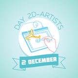 2 december day 2D-artists. Calendar for each day on december 2. Greeting card. Holiday - day 2D-artists. Icon in the linear style royalty free illustration