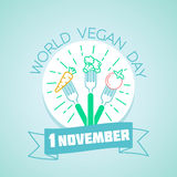 2 december day 2D-artists. Calendar for each day on November 1. Greeting card. Holiday - world vegan day. Icon in the linear style stock illustration