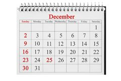 25 december in de kalender stock afbeelding