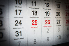 25 december in de kalender Royalty-vrije Stock Foto