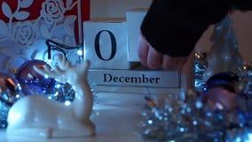 5 December-de komstkalender van datumblokken stock video