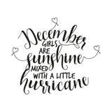 December-de meisjes zijn zonneschijn met een kleine orkaan wordt gemengd die vector illustratie